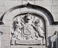 Motto of Belgium : L'union fait la force. Detail, halle, flemisch brabant but written in french royalty free stock photos