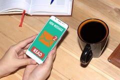 Mottog ett mejlmeddelande direktanslutet på en mobiltelefon Kvinnan rymmer en vit mobiltelefon Royaltyfri Foto
