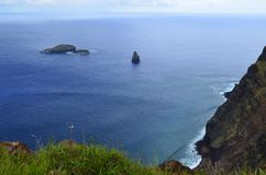 Motu Nui, Motu Iti and Motu Kau kau volcanic islets  in Rapa Nui Easter island Stock Photography
