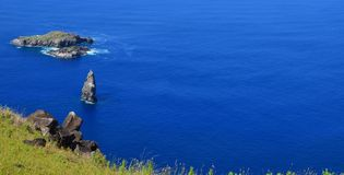 Motu Nui, Motu Iti and Motu Kau kau volcanic islets in Rapa Nui Easter island. Motu Nui, Motu Iti and Motu Kau kau islets are three islets at the westernmost tip Stock Image