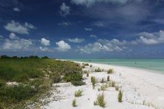 Motu Tabu Islet. White sandy beach in Motu Tabu Islet, Christmas Island, Kiribati stock image