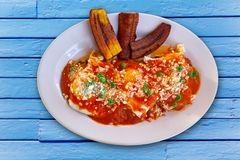 Motulenos eggs breakfast of Mexico. In Riviera Maya Stock Image