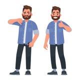 motvilja like dåligt gott En man visar en gest av approvaen stock illustrationer