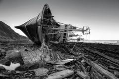 Motxo. Photograph of a boat stranded on the seashore Royalty Free Stock Photo