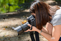 Motyl łapiący na kamerze kobieta fotografowie biorą fotografia krupon Fotografia Royalty Free