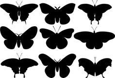 Motyl czarne sylwetki na białym tle również zwrócić corel ilustracji wektora ilustracja wektor