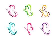Motyl, logo, serce, piękno, zdrój, relaksuje, kocha, skrzydła, joga, styl życia, abstrakcjonistyczni motyle ustawiający listowy b