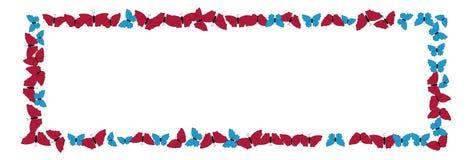 Motyl rama deseniowy kwadrat Granica czarni motyle odizolowywający na bielu ilustracja wektor