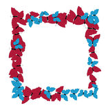 Motyl rama deseniowy kwadrat Granica motyle odizolowywający na bielu ilustracji