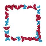 Motyl rama deseniowy kwadrat Granica motyle odizolowywający na bielu royalty ilustracja