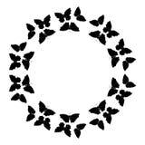 Motyl rama Kurenda wzór, granica Wianek czarni motyle odizolowywający na bielu royalty ilustracja