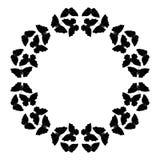 Motyl rama Kurenda wzór, granica Wianek czarni motyle odizolowywający na bielu ilustracja wektor