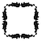 Motyl rama Kwadratowy wzór, granica Wianek czarni motyle odizolowywający na bielu ilustracja wektor