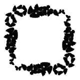 Motyl rama Kwadratowy wzór, granica Wianek czarni motyle odizolowywający na bielu royalty ilustracja