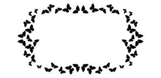 Motyl rama Prostokąta wzór, granica Czarni motyle odizolowywający na bielu ilustracja wektor