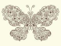 Motyl Robić kwiaty Zdjęcia Stock