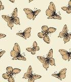 Motyl rysuje tła trawy kwiecistego wektora ilustracji