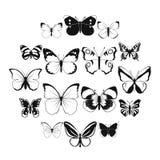 Motyl ustalone ikony ilustracja wektor