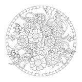 Motyl w okręgu i kwiaty ilustracja wektor