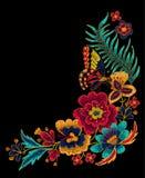 Motyl z kwiatów wektorowymi hafciarskimi elementami Fotografia Stock