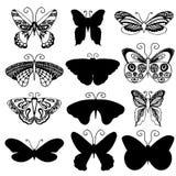 Motyla projekt Set motyl sylwetki w monochromu stylu dla tatuażu projekta kolory mogli różny emblematów form logotypów przedmiotó Zdjęcia Stock