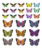 Motyla set, odizolowywający na białym tle Stubarwni motyle Wektorowa ilustracja, klamerki sztuka Zdjęcie Stock