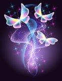 Motyle i gwiazdy ilustracja wektor