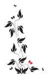 Motyle i liście winieta Obrazy Stock