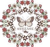 Motyle. Kwiaty. Rama. Kartka z pozdrowieniami. Zdjęcie Royalty Free