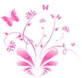 motyle projektują kwieciste menchie Obraz Royalty Free