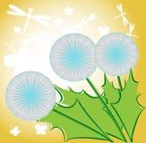 Motyle w dandelion kwiatach ilustracja wektor