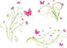 motyli elementów kwiecisty set Fotografia Royalty Free