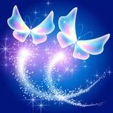 Motyli i rozjarzony salut ilustracja wektor