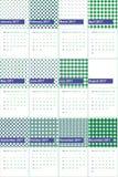 Motyli krzak i lasowa zieleń barwiliśmy geometrycznego wzoru kalendarz 2016 Zdjęcie Royalty Free