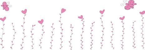 motyli kwiatów serca opuszczać dwa Zdjęcia Royalty Free