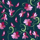 motyli kwiatów wzór bezszwowy Zdjęcie Stock