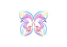 Motyli logo, relaksuje, kobiety ikona, zdroju symbol, joga, kosmetyk, masaż, piękna wellness pojęcia projekt Zdjęcia Stock
