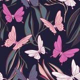 Motyli tkanina wzór Ulistnień leves i piękni latający insekty skaczą przedmioty Lata płótno, rocznik dekoracyjny royalty ilustracja