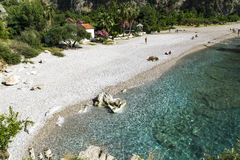 MOTYLIA doliny plaża TURCJA, CZERWIEC, - 01: Turyści odwiedzają sławnego Fotografia Stock