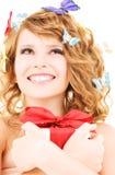 Motylia dziewczyna z prezentem Zdjęcia Royalty Free