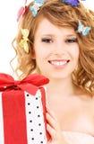 Motylia dziewczyna z prezentem Obrazy Royalty Free