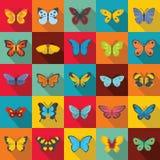 Motylie ikony ustawiać, mieszkanie styl Zdjęcie Royalty Free