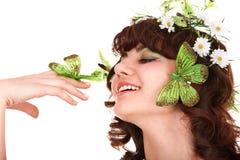 motyliego kwiatu dziewczyny głowa Zdjęcie Stock