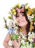 motyliego kwiatu dziewczyny głowa Zdjęcia Royalty Free