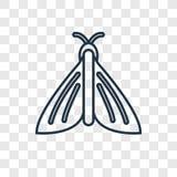 Motyliego pojęcia wektorowa liniowa ikona odizolowywająca na przejrzystym bac ilustracji