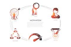 Motywacja, wzrok, poparcie, sukces, cel, występu wektoru set royalty ilustracja