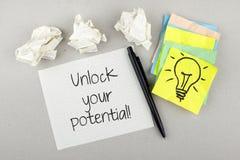 Motywacyjna notatka Otwiera Twój potencjał Zdjęcia Royalty Free