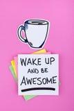 Motywacyjna Poniedziałek wycena notatka z kawą obrazy stock