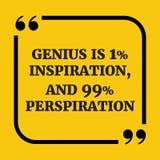 Motywacyjna wycena Geniusz jest 1% inspiracją i 99% perspirati, royalty ilustracja