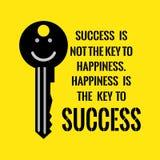 Motywacyjna wycena Sukces no jest klucza szczęście Happine Obraz Stock